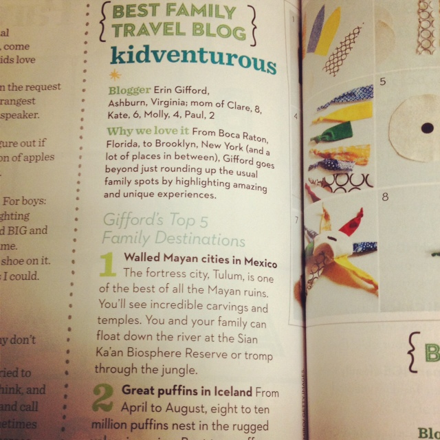 Kidventurous Named Best Family Travel Blog by Parents Magazine