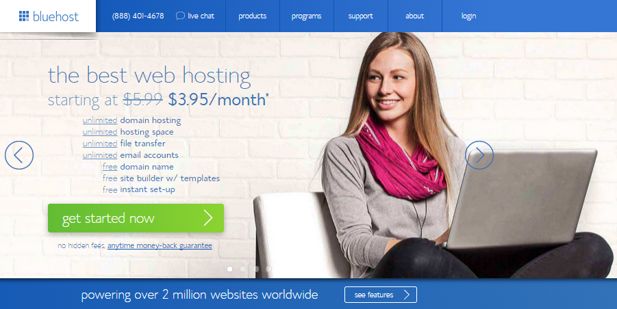 Bluehost-how to start a travel blog