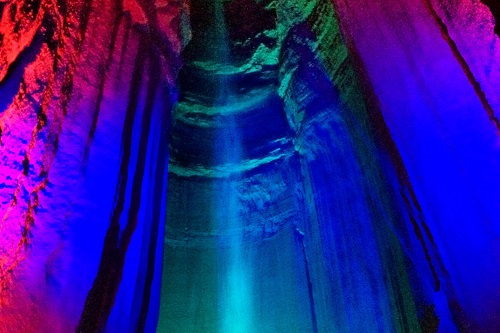 After Rock City, we took a tour of nearby Ruby Falls to see the 145-foot underground waterfall. WOW.