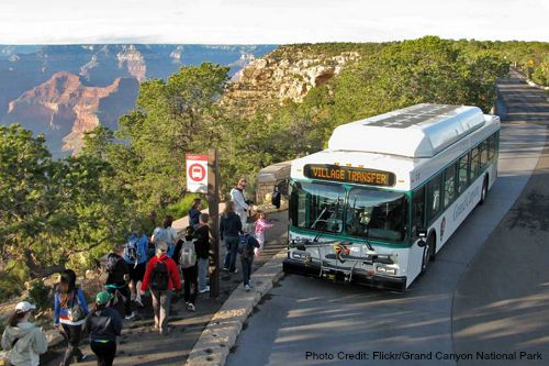 The free park shuttles make it super easy to get around the Grand Canyon.