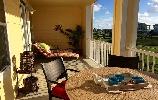 The patio on our vacation rental in Galveston was so spacious and relaxing.