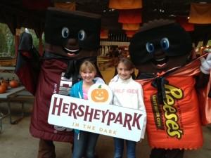 Girls at Hersheypark in the Dark