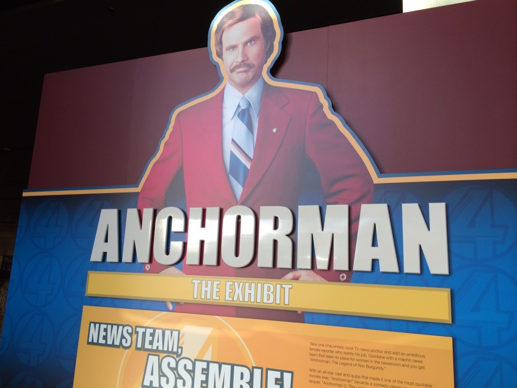 Anchorman's Ron Burgundy Greets Guests Entering the Exhibit.