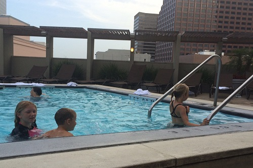 Pool time at the 8th floor rooftop pool at the Sheraton New Orleans.