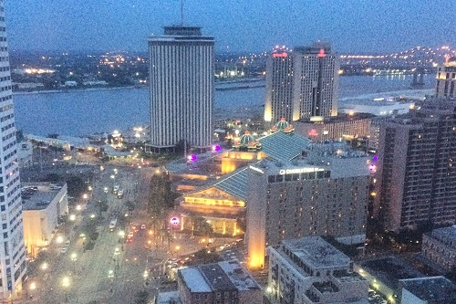 The view from our 36th floor room at the Sheraton New Orleans at the end of a great day.