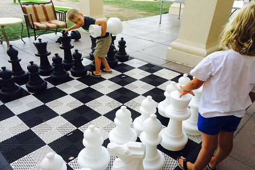 Kids will love the jumbo chess and checker boards at the Westin.