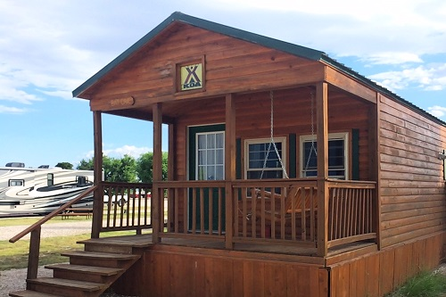 Here's our deluxe cabin at the Carlsbad KOA in New Mexico.